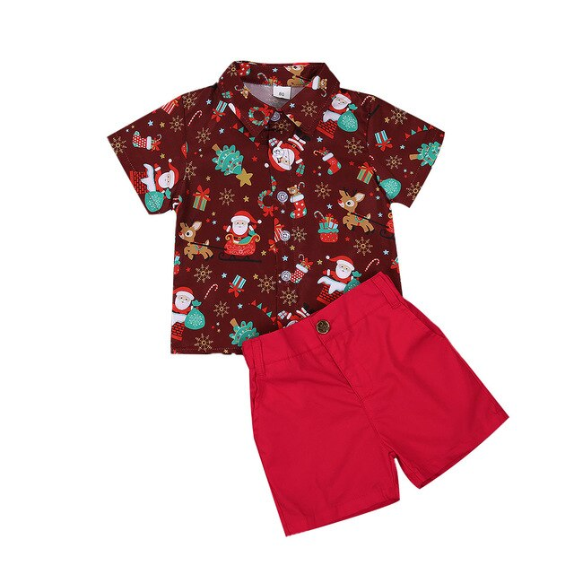 Boys Santa & reindeer christmas set - Red