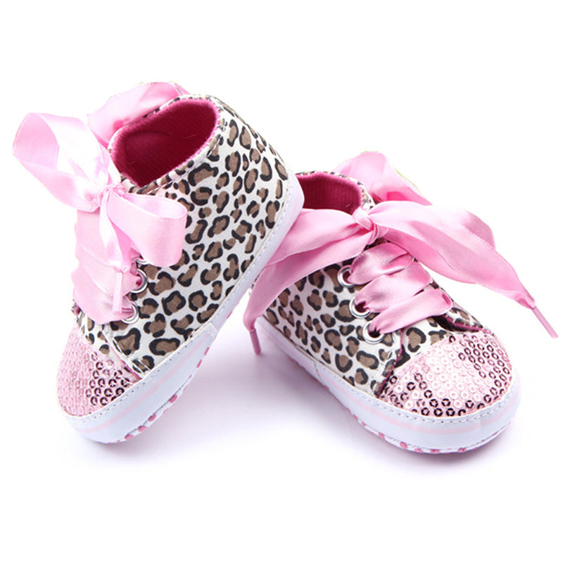 FLORAL LEOPARD SEQUIN FIRST WALKER BABY SHOES