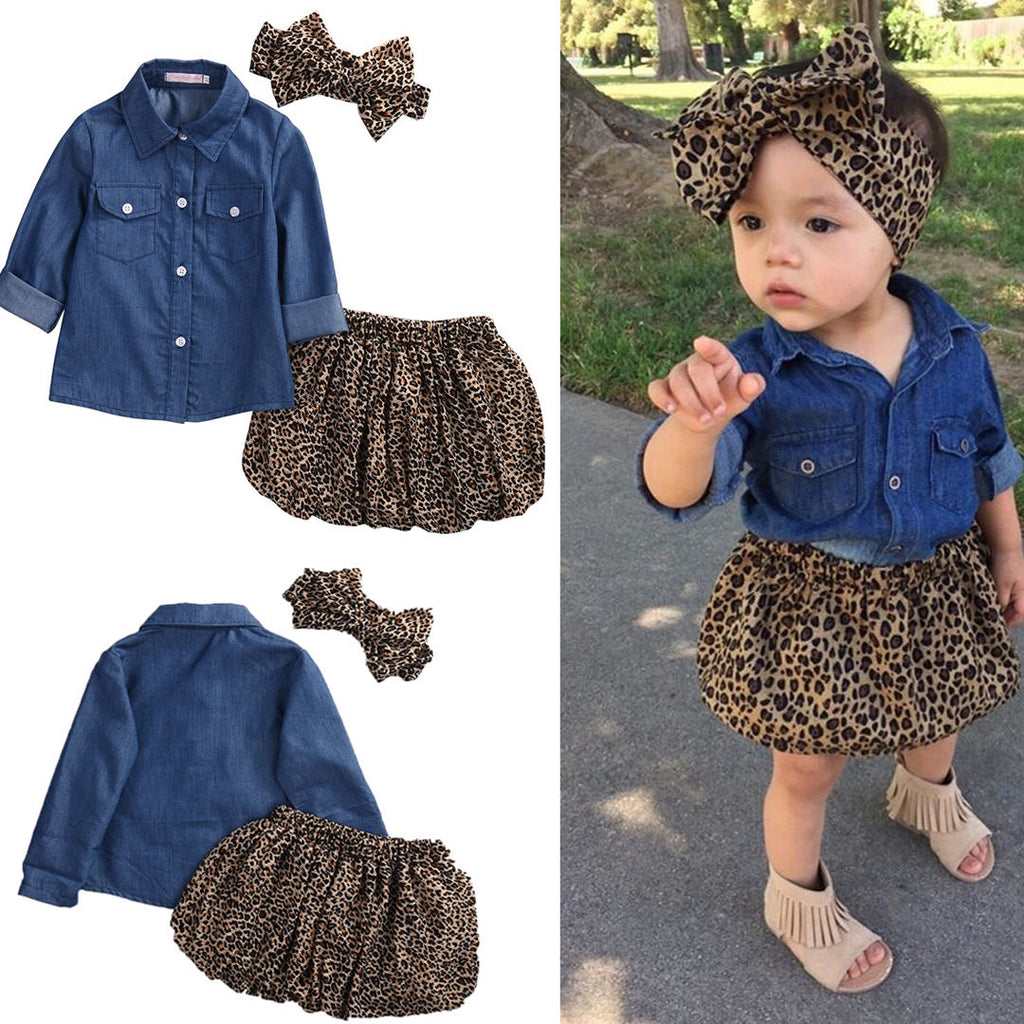 Ciara Denim Top + Cheetah Skirt & Headband-3pcs