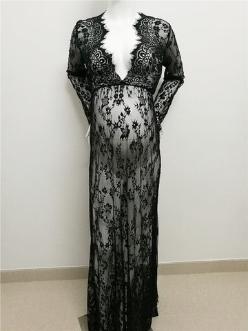 Long Sleeve Lace Pregnancy Maternity Photoshoot Dress