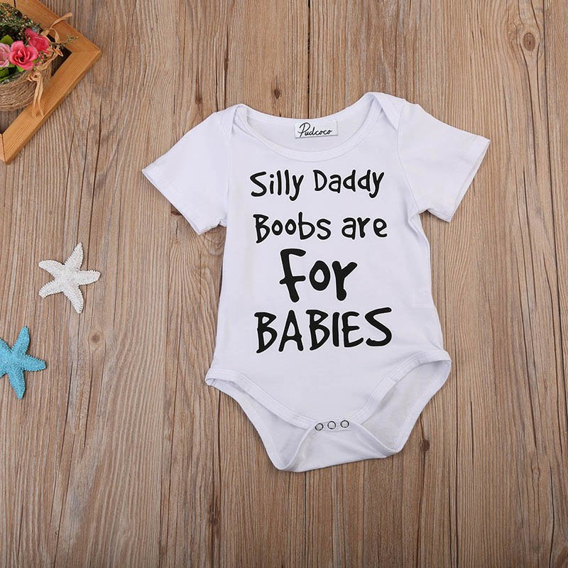 Silly Daddy Boobs Are For Babies Romper