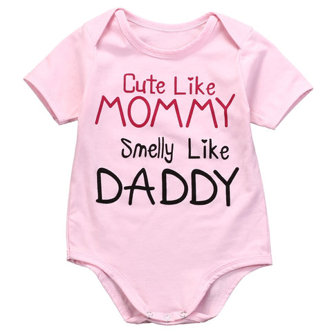 """Cute Like Mommy Smile Like Daddy"" Romper"