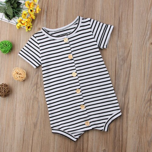 Button Down Romper - Stripes