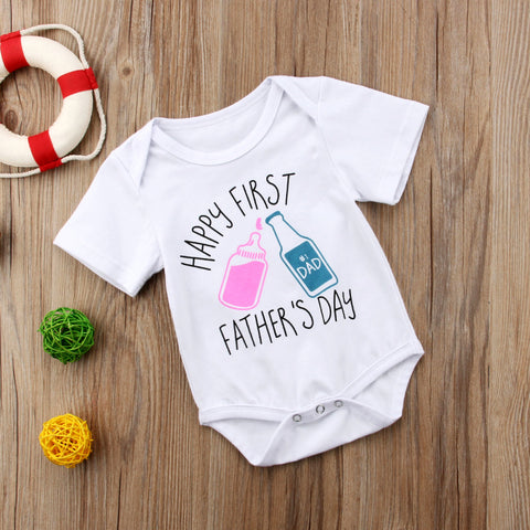 """Happy first fathers day"" Romper"