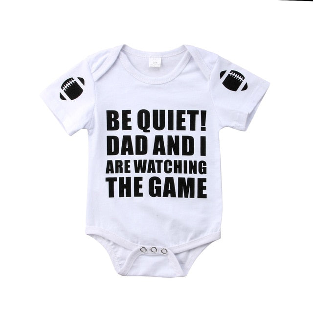 """Be quiet dad and i are watching the game "" Romper"