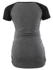 DARK GRAY SHORT SLEEVE SIDE RUCHED MATERNITY T-SHIRTS