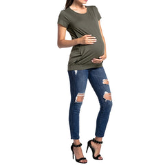 MATERNITY/ NURSING TOP - BREASTFEEDING SHORT SLEEVE T-SHIRT