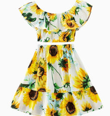2Pcs Sunflower Dress Top + Skirt