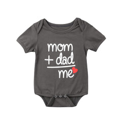 """Dad + Mom"" = Me Bodysuits"