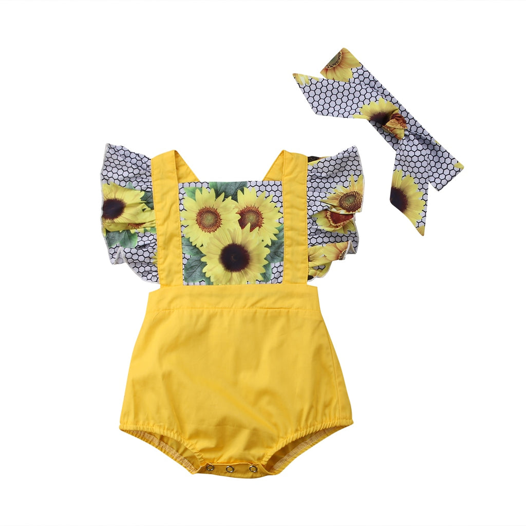 Baby Girl Patchwork Sunflower Ruffle Romper + Headband