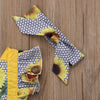 Image of Baby Girl Patchwork Sunflower Ruffle Romper + Headband