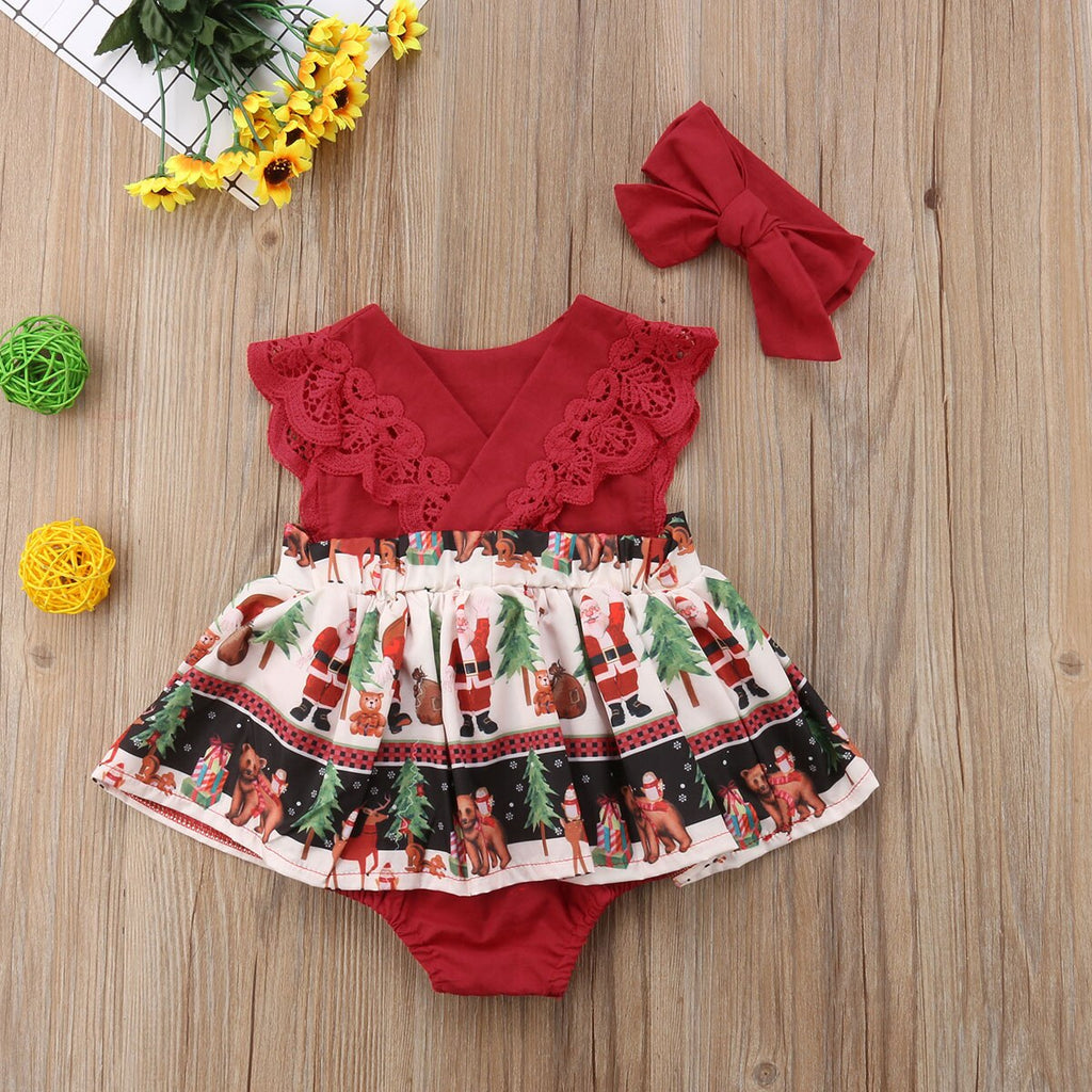 ABBY Santa Lace Outfit with Headband
