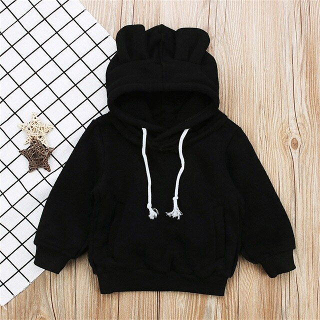 Panda Sweatshirt With Ears - Black