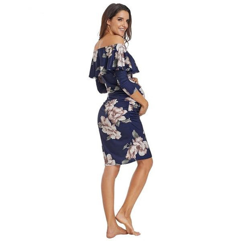 Off Shoulder Fitted Floral Maternity Dress