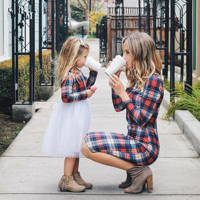 MOTHER DAUGHTER PLAID DRESS