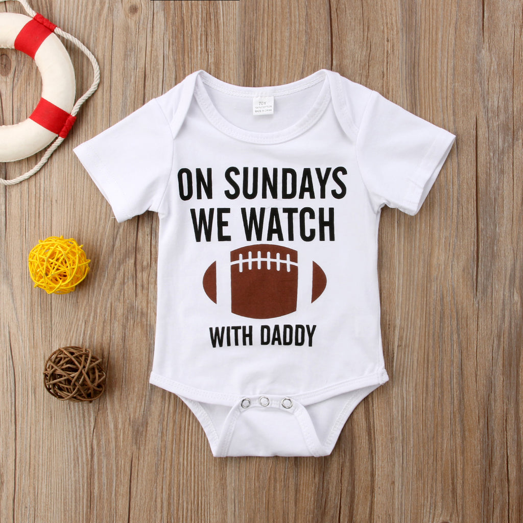 """On Sundays We Watch Football With Daddy"" Romper"