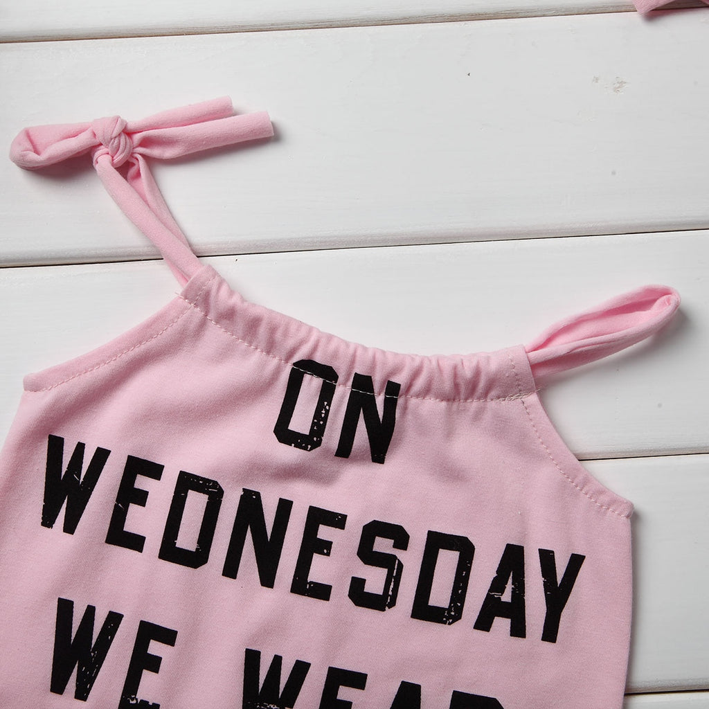 """On Wednesday we wear pink"" Romper"