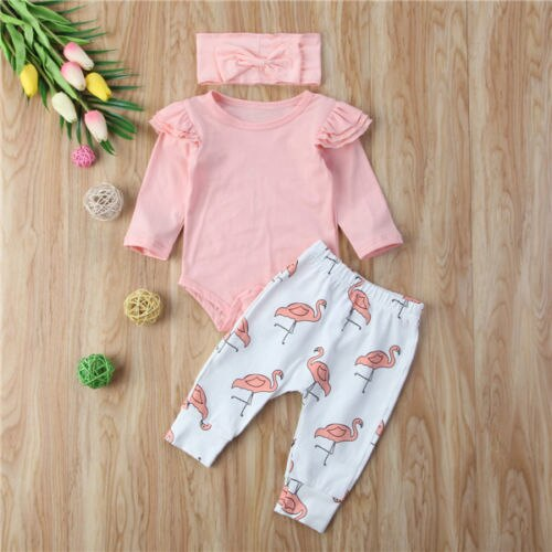 3pcs Pink Flamingo Baby Girl Clothing Set