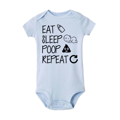 """Eat Sleep Poop Repeat"" Romper"