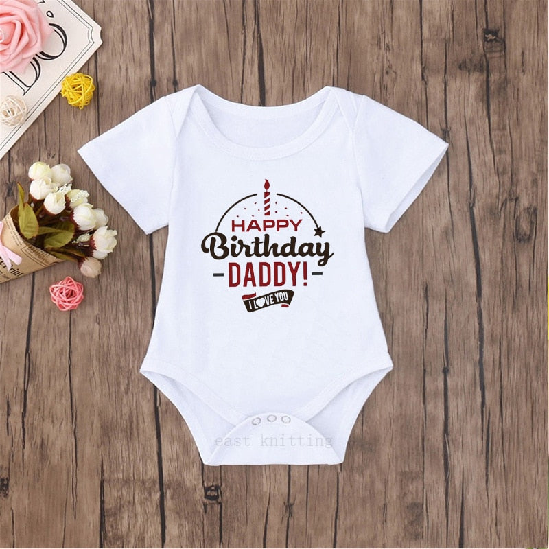"""Happy Birthday Daddy"" Romper - White"