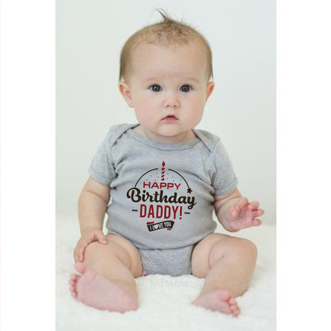 """Happy Birthday Daddy"" Romper - Gray"