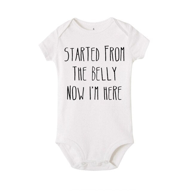 """Started Form The Belly Now I 'm Here"" Romper"