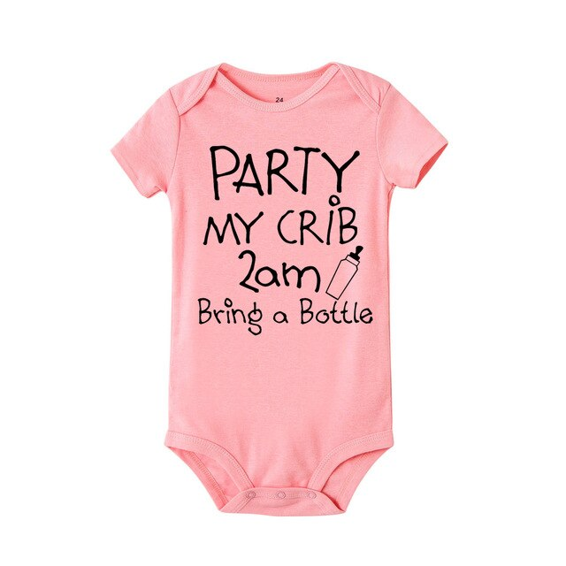 """Party my crib 2am bring a bottle"" Romper"