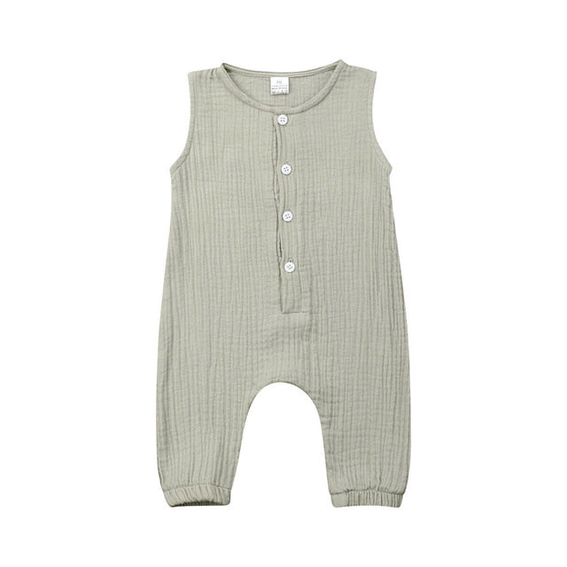 Buttons Front Sleeveless Ramie Cotton Jumpsuit