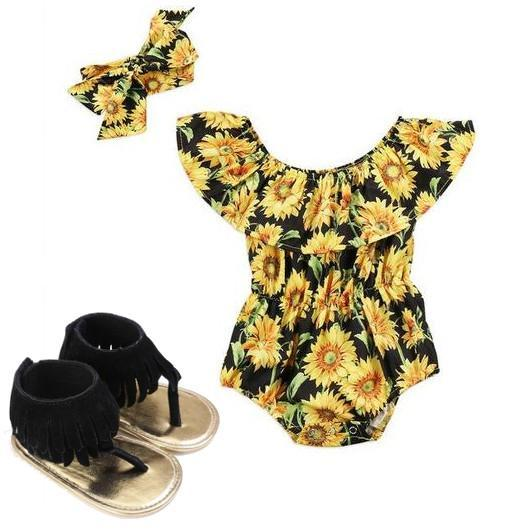 Sunflower Romper Bundle Set