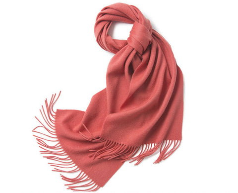 Lambswool Scarf Woven Plain Lobster