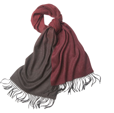 Degradé Lambswool Scarf Woven Plain Brown Red
