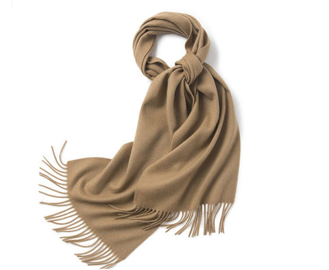 Lambswool Scarf Woven Plain Camel
