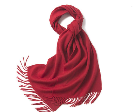 Lambswool Scarf Woven Plain Red