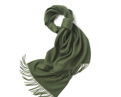 Lambswool Scarf Woven Plain Hunting Green