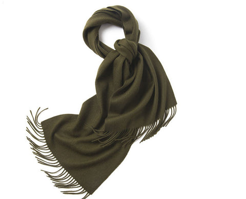 Lambswool Scarf Woven Plain Olive Green