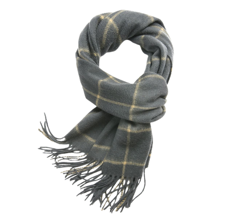 Check Lambswool Scarf Woven Grey Camel