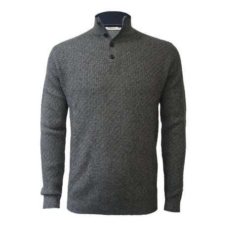 Cashmere Button Neck Sweater Mid Grey