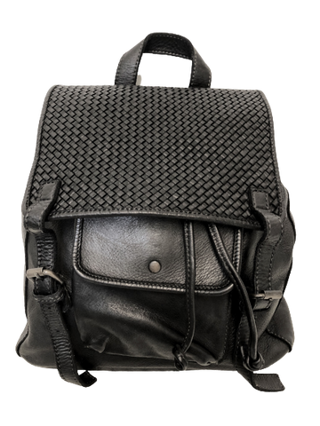 Black Woven leather Back Pack