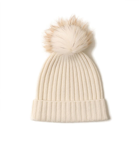 Cashmere Ribbed Beanie with Eco PomPom Mont Blanc Woolwhite