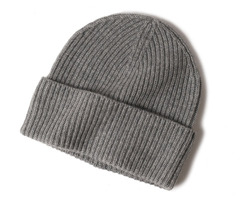 Cashmere Ribbed Turn up Beanie Grey