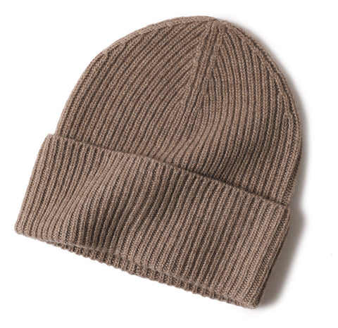 Cashmere Ribbed Turn up Beanie Taupe