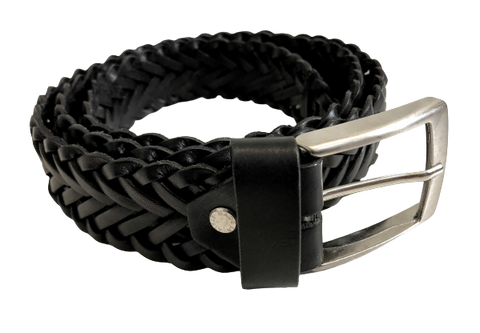 Black leather woven belt rolled