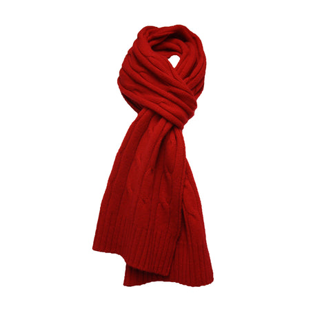 Red Cashmere Cable Scarf