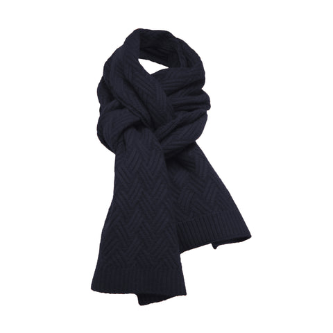 Cashmere knitted Scarf ZigZag Black