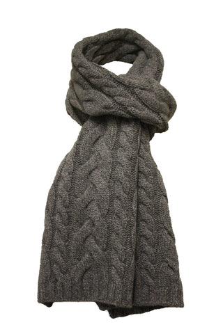 Cashmere Scarf double cable Grey