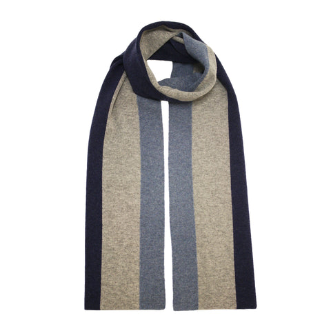 Cashmere Striped Scarf Grey Blue