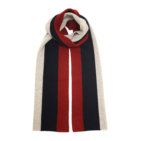 Cashmere Scarf striped Grey Red