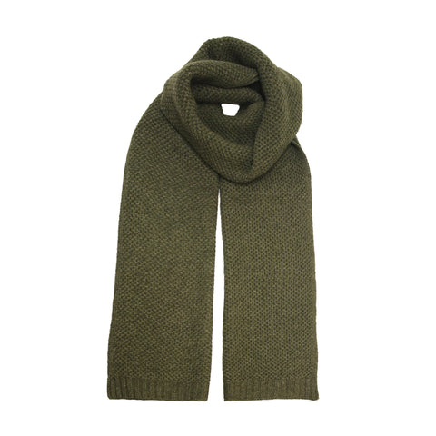 Cashmere Seed Stitch Scarf knitted Army Green