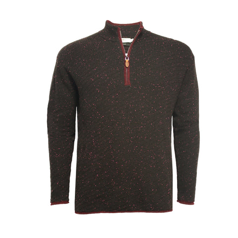 Cashmere Zip neck Sweater Donegal Black Red