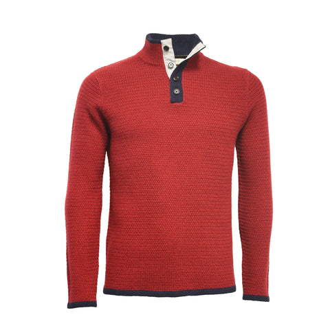 Cashmere Button Neck Sweater Whistler Red